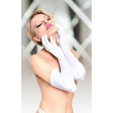 Белые эластичные перчатки выше локтя