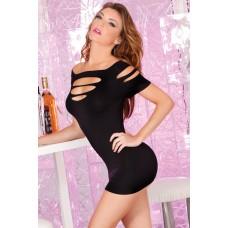 Бесшовное черное мини-платье с разрезами SL