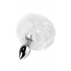 Серебряная малая пробочка с белым пушистым хвостиком