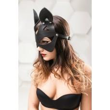 Черная маска с ушками из натуральной кожи Китти Passion Belts