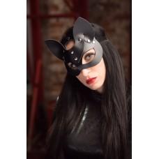 Черная маска с ушками из натуральной кожи Passion Belts