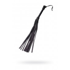 Черная плеть с кожаной рукояткой и замшевыми лентами