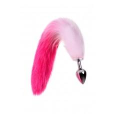 Средняя анальная втулка с бело-розовым хвостом Metal by TOYFA