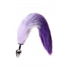 Средняя анальная втулка с бело-фиолетовым хвостом Metal by TOYFA