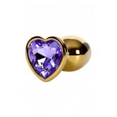 Малая золотая втулка с кристаллом в виде сердца цвета аметист Toyfa