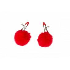 Зажимы на соски с красными помпонами Party Hard Angelic Red