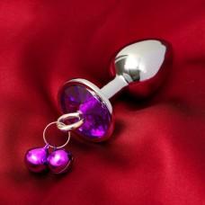 Анальная втулка с фиолетовым кристаллом и колокольчиками