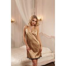 Золотистая ночная сорочка с кружевом 42-44