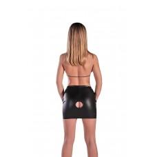 Кожаная юбка с отверстием и лифом SM