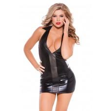 Коротенькое черное платье с кожаной вставкой Wet Look & Faux Leather Dress
