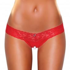 Красные ажурные стринги с разрезом и жемчужной нитью SM