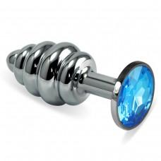 Малая рельефная серебряная пробочка с синим кристаллом