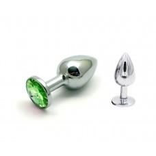 Малая серебряная пробочка с зеленым кристаллом
