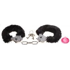 Металлические наручники со стразами и черным мехом Crystal Handcuffs