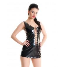 Платье черное виниловое со шнуровкой спереди и  сзади SM
