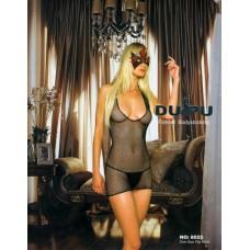 Платье-сетка с глубоким вырезом на груди