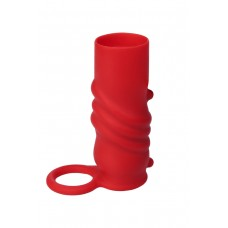 Рельефная насадка на пенис с фиксирующим кольцом Black & Red