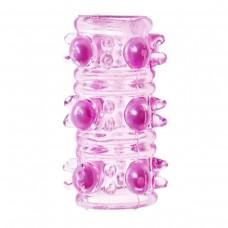 Стимулирующая розовая насадка на пенис с шипами и шариками