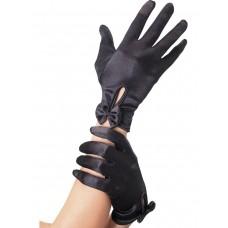 Чёрные атласные перчатки с бантиком Леди