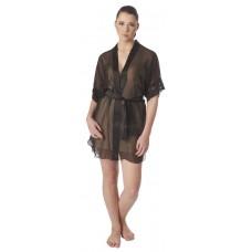 Чёрный прозрачный халат с атласными вставками Belweiss SL